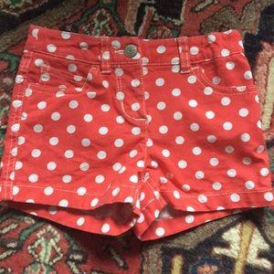Mini Boden heart pocket polka dot shorts size 6